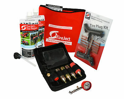 Emergency Tire Repair Kit Sealant Pouch Injector Plug Inflator Gauge - Pro Pack