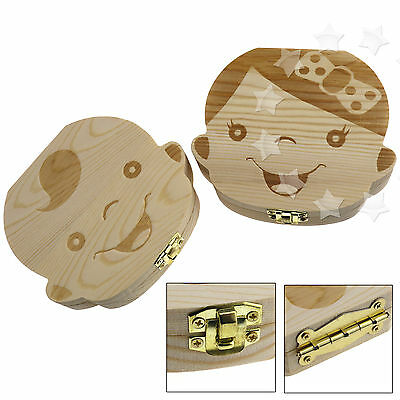 Kids Childs Baby Milk Teeth Wooden Tooth Storage Box Memory Save Boy & Girl