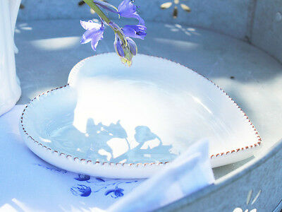 Vintage Antique French Chic Small White Heart Canape Dish Bowl Plate Christmas