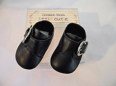 Baby boys quality pram shoes black by Little Cutie size UK 1 approx 0-3 months