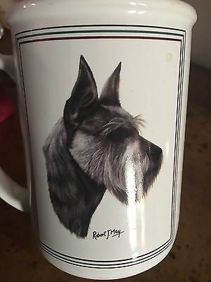 Robert J. May Signed Large Terrier Schnauzer Dog Collectible Ceramic Coffee Mug