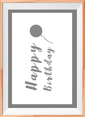 Happy Birthday Baloon A4 Mylar Reusable Stencil Airbrush Painting Art
