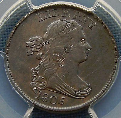 Gorgeous 1805 Draped Bust Half Cent - No Stems - Au Details Cleaning Pcgs