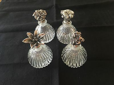 Set of 4 Perfume Bottles with Silver Plate Floral Stoppers - New in Box