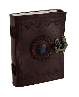 Embossed Leather Blue Stone 120 Page Unlined Journal with Clasp Handmade Paper