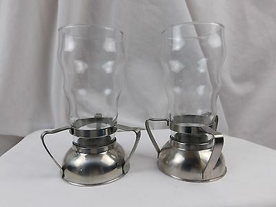 Vintage Pair of 1940's Art Deco Space Ship Chrome Soda Fountain Holders w/ Glass