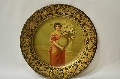 """Antique Tin transfer Viena  art plate  tray """"The Majestic Hotel"""" advertising"""