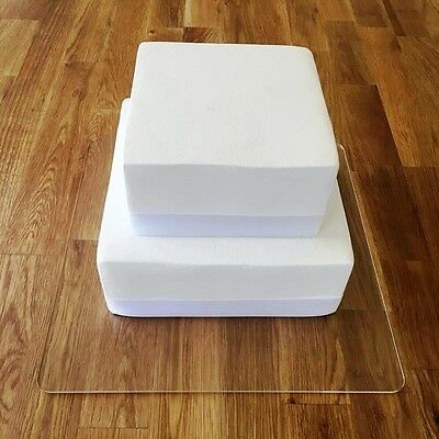 "Square Cake Board, Clear Gloss Finish 3mm Acrylic, Sizes 7"" 9"" 11"" 13"" 15"" 17"""