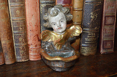 Antique Carved Wood German Painted Gilded Cherub Holy Water Font