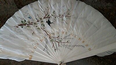 Lovely Vintage Oriental Feather Fan with Painting of Bird & Butterfly