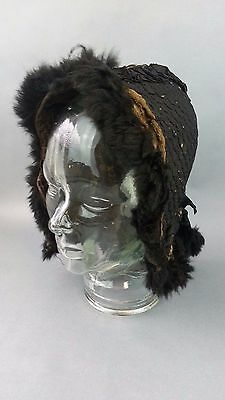 Antique Victorian 1800's era Quilted Black Mourning Hat w/ Real ANimal Fur