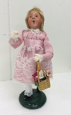 Byers Choice Caroler Spring May Girl in Pink Dress Basket of Flowers Signed