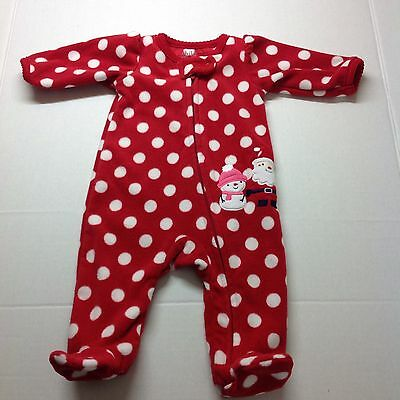 Newborn Child of Mine Made By Carter Christmas Red One Piece Fleece Sleeper