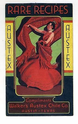 Walkers Austex Chile Austin Texas Rare Recipes Booklet Red Devil Mexene Can Vtg