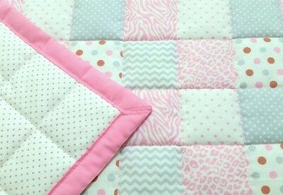 NEW, HANDMADE, PINK,GRAY SQUARES, 34x43in,  FLANNEL, BABY QUILTED BLANKET -GIFT