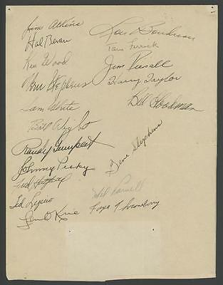 1952 BOSTON RED SOX signed team page with (19) autographs - Hal Bevan, Stephens!
