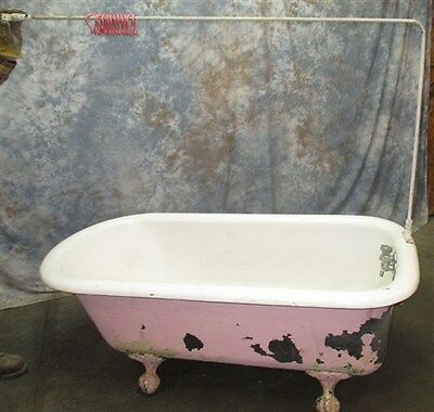 5' Porcelain Claw Foot Bath Tub Vintage Art Deco Nouveau Victorian Cast Iron n