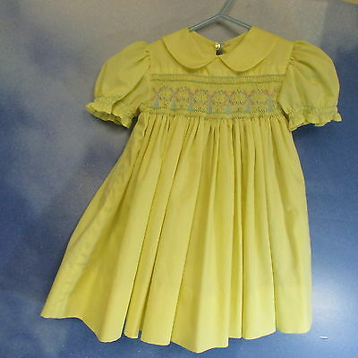 AU-Vintage 60s golden yellow poly cotton smocked windmills childs dress 18 mo.