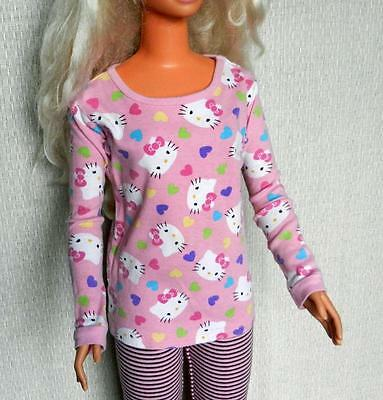 My Size Barbie Pink Hello Kitty Top with Purple Hearts & Striped Capri Leggings
