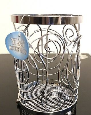 Chrome Metal Cutlery Holder Utensils Wire Kitchen Storage Stand Tidy Rack
