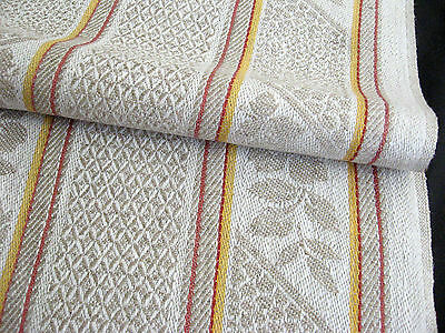 antique linen kitchen Towel / Runner nature coloured design brown/yellow stripes