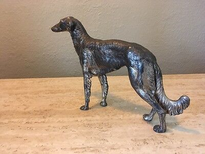 Vintage 1930s/40s JB Jennings Borzoi Afghan Hound Silver Plate Sculpture 9.5""