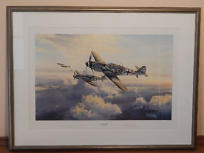 Robert Taylor Ace of Aces signed Erich Hartmann Aviation Print WWII Luftwaffe