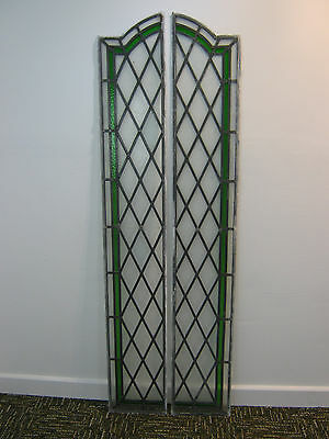 Vintage Pair of stained glass windows, arched leaded light panels Northants