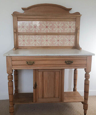 Antique Pine Wash Stand Tile Back Marble Top