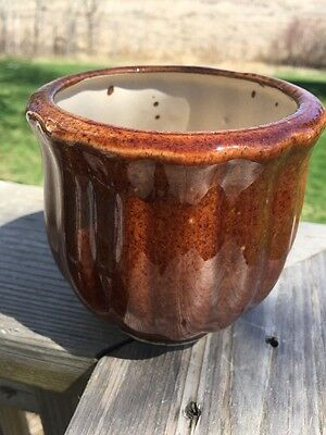 "Vintage Arts & Crafts Glazed Brown Bell-shaped Flower Pot Planter 4"" Tall"