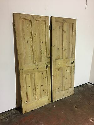 2 x Antique Victorian Stripped 4 Panel Pine Doors