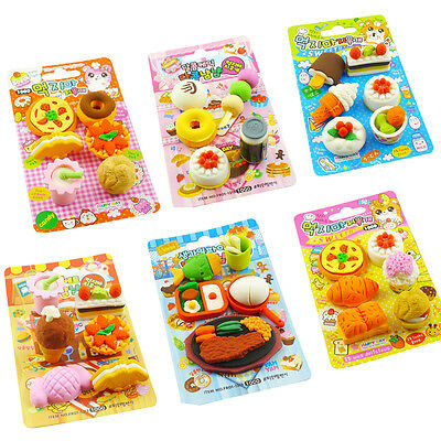 Kids Cute Food Rubber Pencil Eraser Set Stationery Novelty Child Party Gift Toys