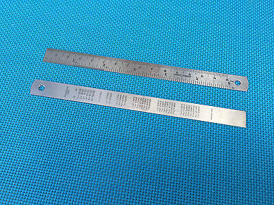 "STAINLESS STEEL POCKET RULER 6"" 15cm RULE LOT OF 2 IMPERIAL INCH  & METRIC"