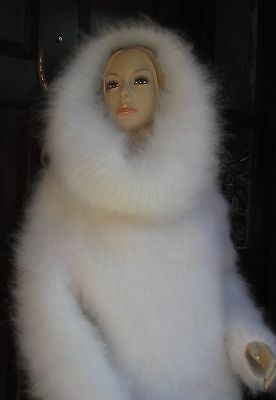 Snow White Hand Knitted Mohair Cowl Neck Sweater by GINA