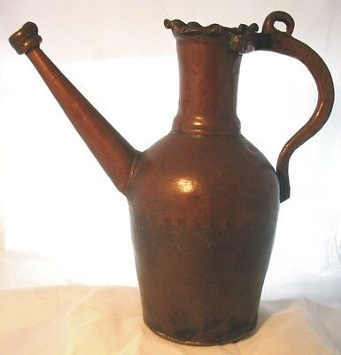 Antique 19th Century Persian Ottoman Islamic Heavy Copper Ewer Pitcher Jug