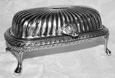 Ornate Vintage L'argenterie Silver Plate BUTTER DISH Roll Lid Feet Glass Tray