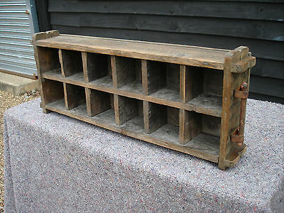 Vintage Pine Bottle Rack Shelves Shelving Seed Tray Rustic Crate Country