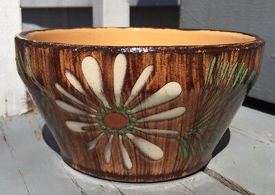 "Vintage Glazed Brown Woodgrain Flowers Planter 3.75"" Tall - Retro Cool!"