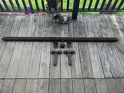 Complete System Antique Barn Door Rollers With Track, End Caps and Hangers