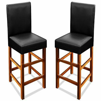 Wooden Bar Stools Breakfast Kitchen Pub Wood High Chairs Pair Chair Set Leather