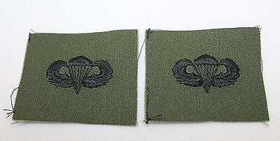 US Army Basic Parachute Embroidered Badge Black on OD Fabric Pair R7884
