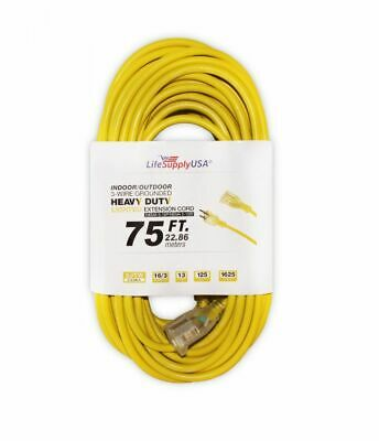 16/3 125V SJT Extension Cord Lighted End Prong for Indoor + Outdoor use 75 ft