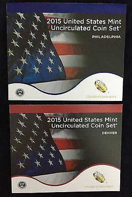2015 United States Mint Uncirculated Coin Set with COA - P&D