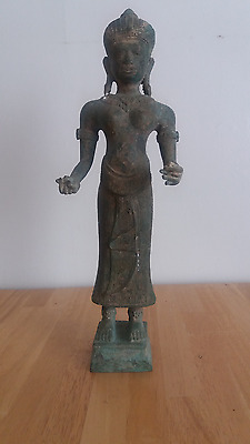 """Ancient Bronze Khmer Cambodia Temple Statue Huge 19"""" Tall"""