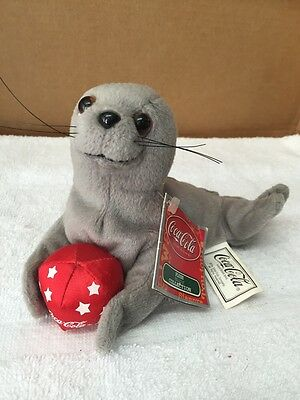 Coca-Cola Plush Seal With Ball Bean Bag Stuffed Toy