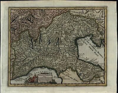 Northern Italy Alps Venice Milan Lagoon w/ cartouche 1729 decorative Cluverius