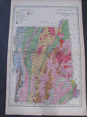 Original 1877 Geological Map Of New Hampshire and Vermont Atlas of New Hampshire