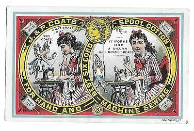 Fairy  1880's J & P Coats Sewing Thread Before & After Victorian Trade  Card