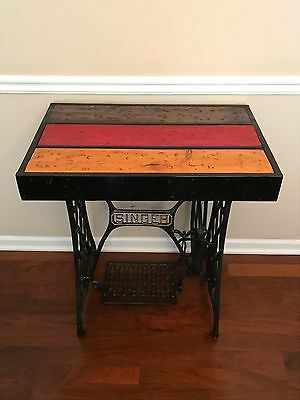 Rustic Table with Singer Sewing Machine Cast Iron Base Shabby Chic, Custom Made