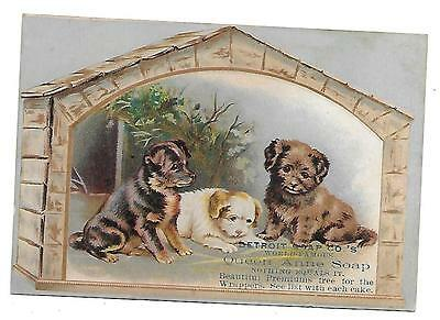 Detroit's Soap Co's Queen Anne Soap Victorian  Trade Card 3 Puppy Dogs